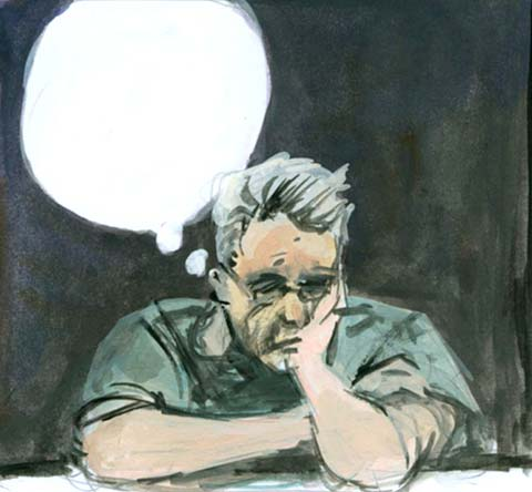 sketch of writer thinking