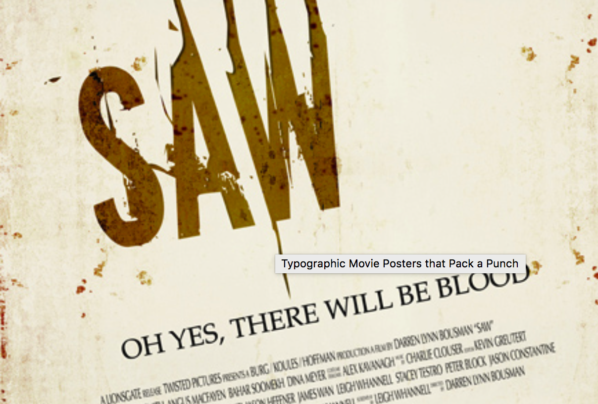 SAW-typographic movie poster