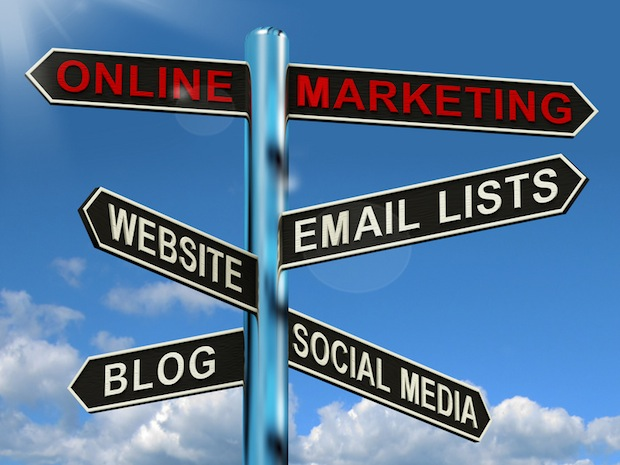Online Marketing Signpost Showing Blogs Websites Social Media An