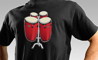 black tee with printed bongo musical instrument that works
