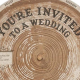 tree ring cardboard wedding invitation