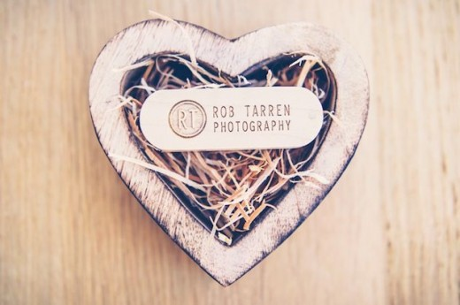 wooden heart USB flash drive for weddings