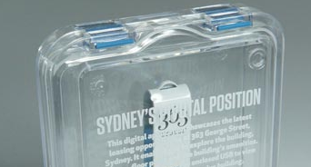 USB flash drive in clear plastic case