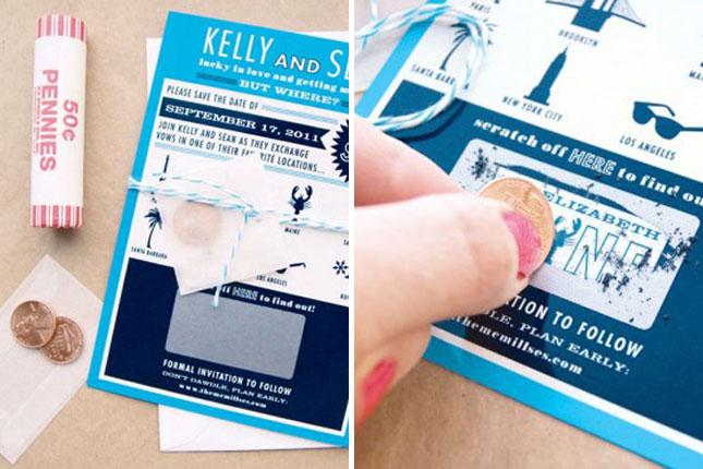 Scratch off wedding invitation