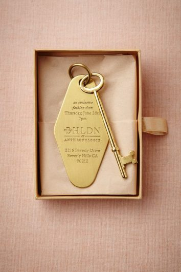 golden key wedding invitation