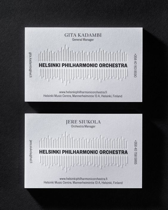 Creative business cards for artists that incorporate what they do sound wave business card reheart Image collections