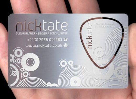 guitar pick business card