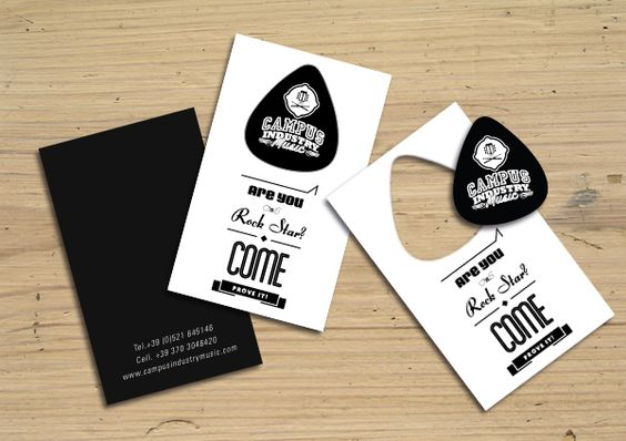 Creative business cards for artists that incorporate what they do guitar pick business card reheart Image collections