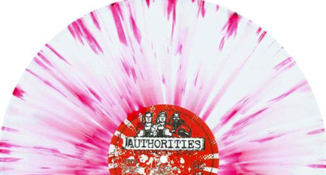 pink and white splattered vinyl record